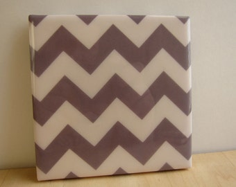 Chevron Stripes Grey Tile Coaster