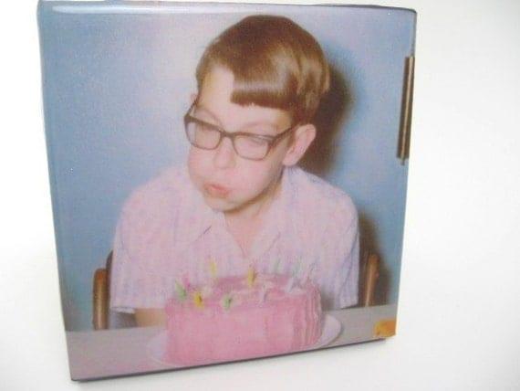 Birthday Boy With Pink Cake Tile Coaster