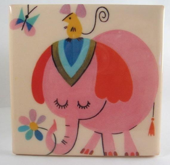 Vintage Pink Elephant Tile Coaster