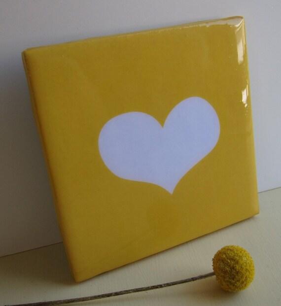 Modern Heart Sunshine Yellow Tile Coaster