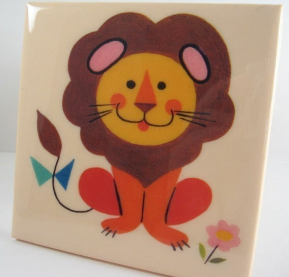 Vintage Lion Tile Coaster