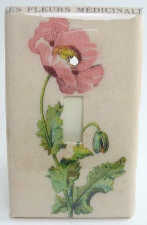 Les Fleurs Vintage Poppy Light Switch Plate