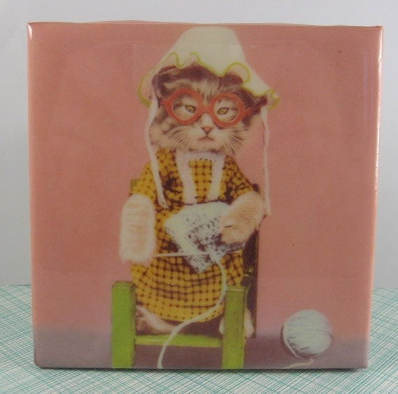 Cats Who Knit Tile Coaster
