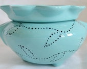 African Violet Pot Turquoise w/ Black Polka Dots SMALL