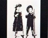 """Children on Stilts pen & ink  8 x10"""""""