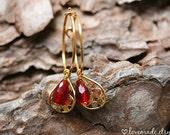 Red Quartz Hoop Earrings