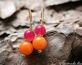 Pink \/ Orange Jade Earrings
