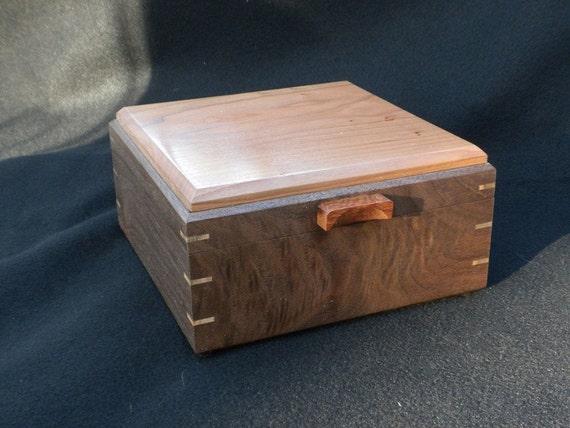 Figured Walnut and Cherry Keepsake Wood Box