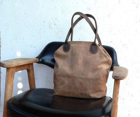 Leather Tote Bag / Satchel - leather hand stitched bag  Feral Empire