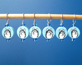 Husky Dog Stitch Markers--Set of Six