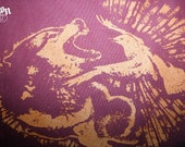 1AEON NEW maroon tote with copper Wolf vs. Bird design - Unisex