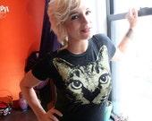 burnout womens tee, Cat tshirt, womens clothing, womens tshirt, cat tee, black tshirt,1AEON Soft burnout tee w Gold Cat L