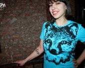 graphic tee, fox t-shirt, blue tee, fox tee, blue tshirt, womens fox clothing, fox tshirt, 1AEON Fox blue tee - Size S