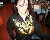 womens cat clothing, black hoodie, plus size cat, screenprinted hoodie, cat hoodie,  katze, gold cat, black cat sweatshirt, womens S-XXXL