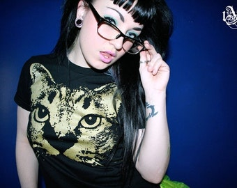 cat t shirt, cat, meow, womens cat clothing, womens cat tee, black cat tee,1AEON black tee with golden Kitty Cat-  Size women's S-XXL