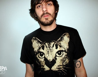 cat t-shirt, gift for dudes, cat, cat t-shirt, cat clothing, 1AEON black tee w Gold Cat, S-XXL