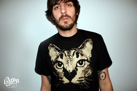 1AEON black tee with Coezby Cat-  Size mens or unisex L