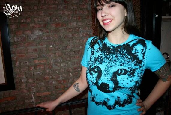 sale etsy, graphic tee, fox t-shirt, blue tee, fox tee, blue tshirt, womens fox clothing, fox tshirt, 1AEON Fox blue tee -  women's XL