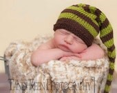 Sweet Baby Hat - Chocolate Worms - Long Tail - Newborn to Six Months, elf hat, newborn photography prop, baby shower, shower gift, baby gift