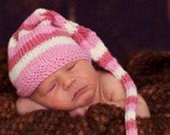 Sweet Baby Hat - Peppermint Swirl - Newborn to Six Months, elf hat, newborn photography prop, baby shower, shower gift, baby gift
