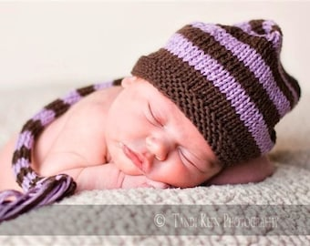 Sweet Baby Hat - Lilacs and Fairy Dust - Newborn to Six Months - pixie hat, elf hat, newborn photo prop, shower gift, baby shower, baby gift