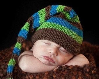 Sweet Baby Hat - Tree and Sky - newborn to six months elf hat, newborn photo prop, baby shower, baby gift