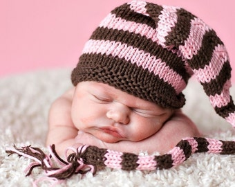 Sweet Baby Hat - Cupcake - Long Tail - Newborn to Six Months, elf hat, newborn photography prop, baby shower, shower gift, baby gift
