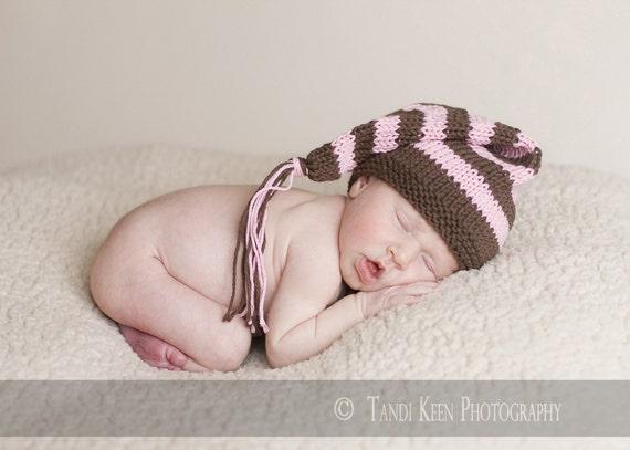 Sweet Baby Hat - Cupcake - newborn to six months. pixie hat, elf hat, newborn photo prop, shower gift, baby gift, baby shower, stocking cap