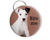 Bite Me -- Pinback Button, Magnet or Key Chain / Bottle Opener
