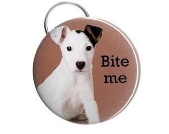 Bite Me -- Pinback Button, Magnet or Key Chain / Bottle Opener