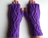 Fingerless Gloves - Plum Purple Cable Knit Wool Armwarmers for Men or Women