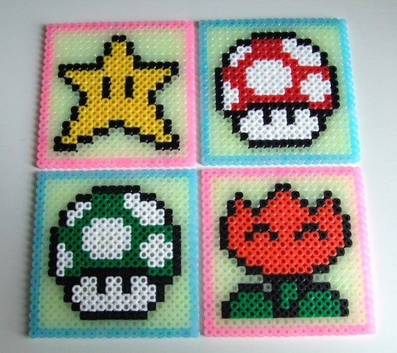 Nintendo Super Mario Glow in the Dark Coaster Set  - Set of 4 Bead Coasters
