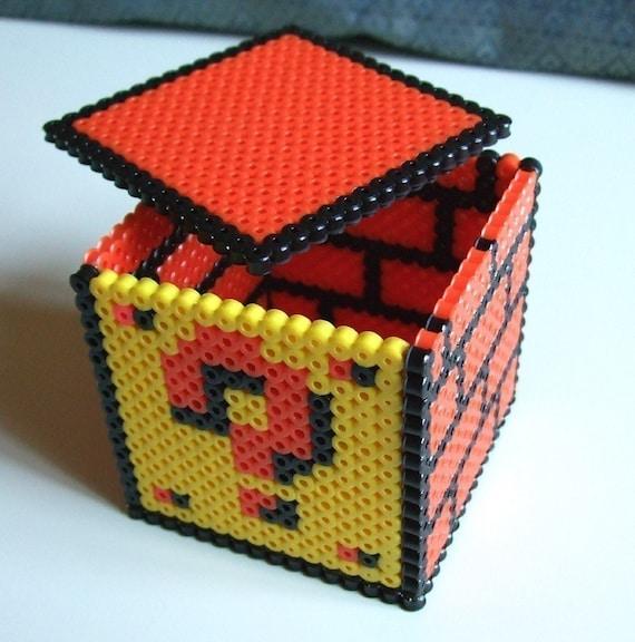 Keepsake Box - Question Mark Block - Nintendo Super Mario Bros Perler Bead Box
