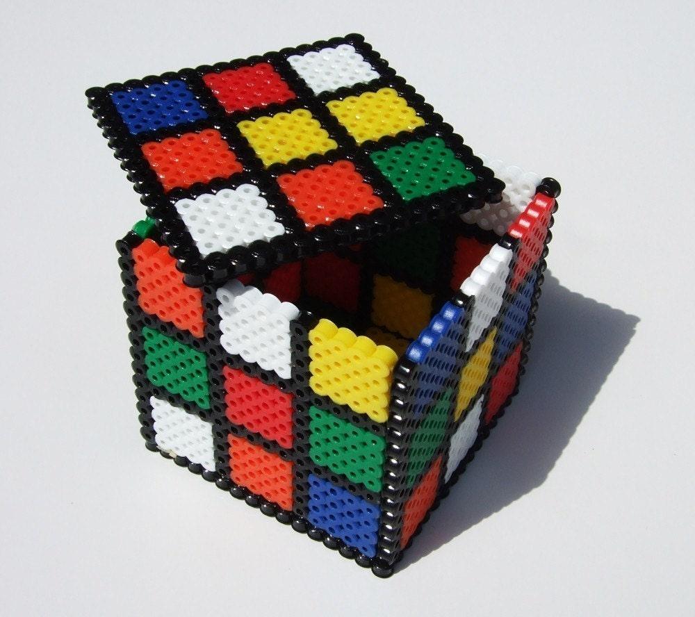 keepsake box rubix cube perler bead box retro 80s by ... citroen c3 glove box fuse box