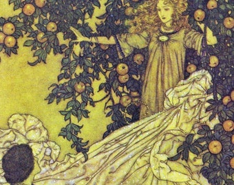 The Fairy's Shimmering Garment by Edmund Dulac, Green Tiger Press Vintage Postcard