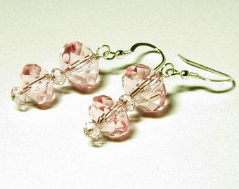 Pink Crystal Rondelle Earrings