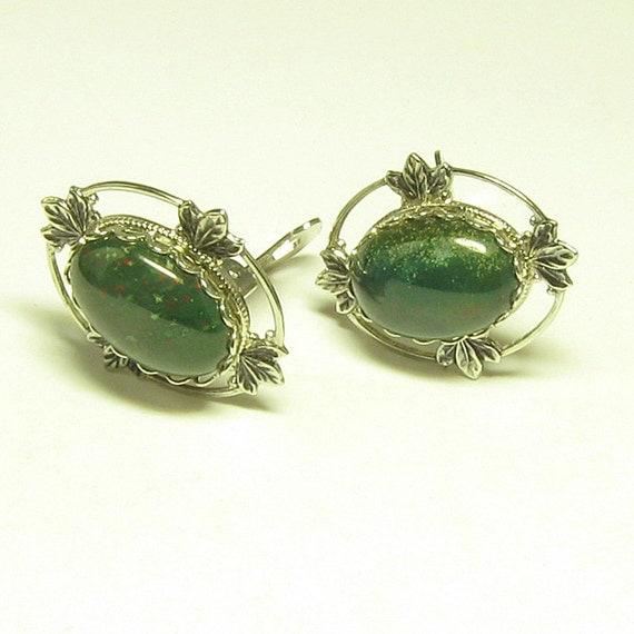 Clip Bloodstone Earrings
