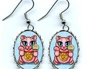 Lucky Cat Earrings Maneki Neko Love Luck Fantasy Cat Art Cameo Earrings 25x18mm Gift for Cat Lovers Jewelry