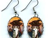 Pirate Cat Earrings Captain Leo Rat Ship Sunset Fantasy Cat Art Cameo Earrings 25x18mm Gift for Cat Lovers Jewelry