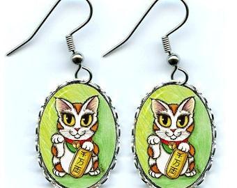 Lucky Cat Earrings Maneki Neko Luck Fantasy Cat Art Cameo Earrings 25x18mm Gift for Cat Lovers Jewelry