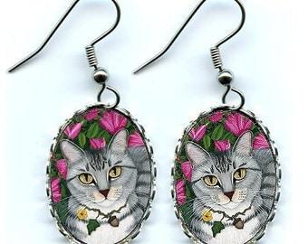 Tabby Cat Earrings Silver Tabby Cat Fantasy Cat Art Cameo Earrings 25x18mm Gift for Cat Lovers Jewelry