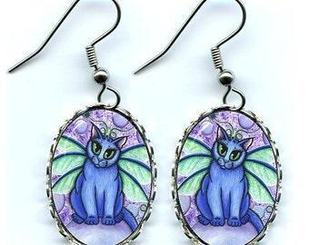 Bubble Fairy Cat Earrings Big Eye Cat Art Cameo Earrings 25x18mm Gift for Cat Lovers Jewelry