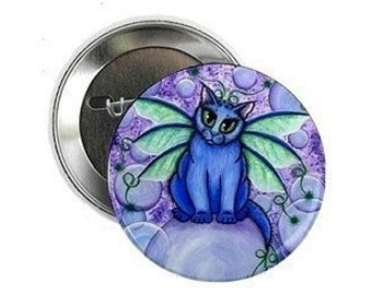 Fairy Cat Button Bubble Blue Fairy Cat Pin Big Eye Fantasy Cat Art 2.25 inch Pin Back Button Cat Lovers Gift