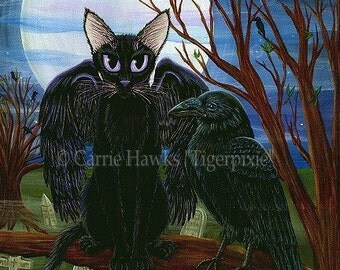 Black Cat Art Raven Cat Painting Goth Art Moon Crow Cemetery Gothic Cat Dark Cat Art Print 5x7 Cat Lovers Art