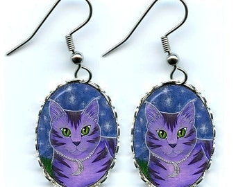 Moon Cat Earrings Astra Purple Cat Celestial Cat Stars Fantasy Cat Art Cameo Earrings 25x18mm Gift for Cat Lovers Jewelry