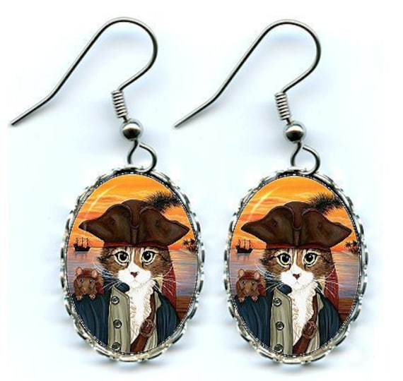 Pirate Cat Earrings Captain Leo Rat Ship Sunset Fantasy Cat Art Cameo Earrings 25x18mm Gift for Cat Lovers Jewelry