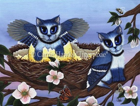 Cat Art Birds Blue Jay Kittens Cats Fantasy Art Limited Edition Canvas Print 11x14