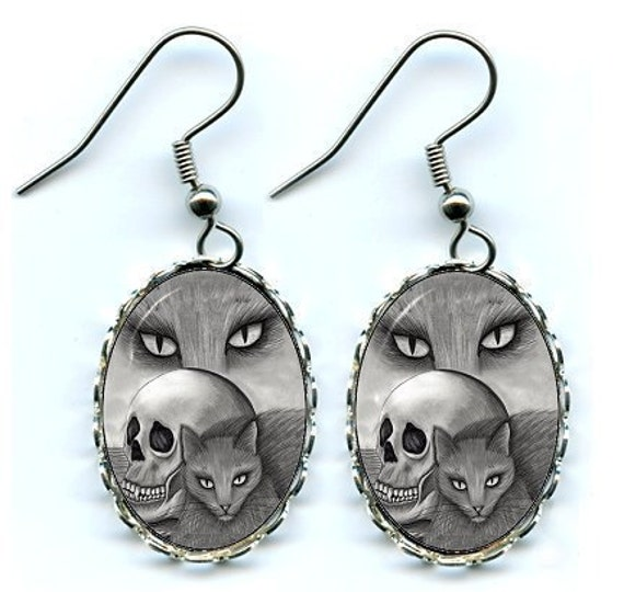 Black Cat Earrings Witch Skull Gothic Goth Fantasy Cat Art Cameo Earrings 25x18mm Gift for Cat Lovers Jewelry