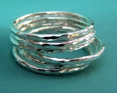 Stacking Ring Set in Sterling Silver - Thin Hammered - Set of Six