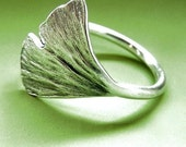 Ginkgo Leaf Ring - Sterling Silver
